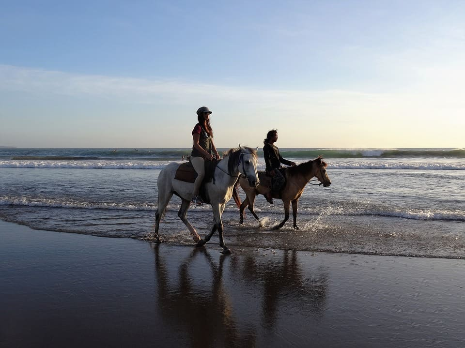 children riding on the beach