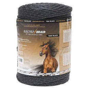 ElectroBraid PBRC1000B2-EB Electric Horse Fence Conductor Reel, 1000-Feet, Black