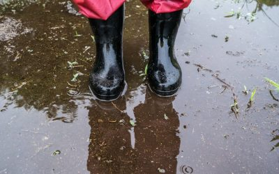 person wearing pair of the best muck boots