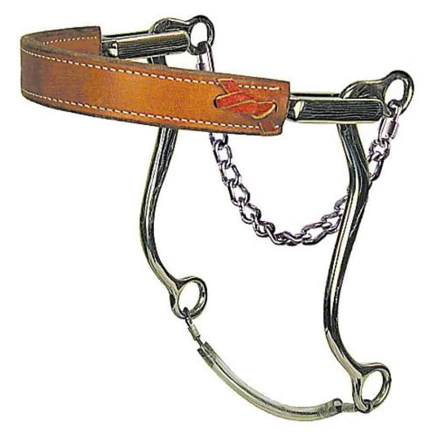 Tough-1 SS Flat Leather Nose Hackamore